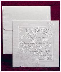 Svatební oznámení čtverec ze strukturovaného papíru bíle krémové barvy, vzor 2430