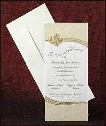 Svatební oznámení se zlatými matovanými srdíčky, vzor 2439