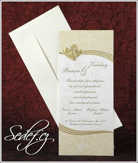 Svatební oznámení se zlatými srdíčky vzor 2439