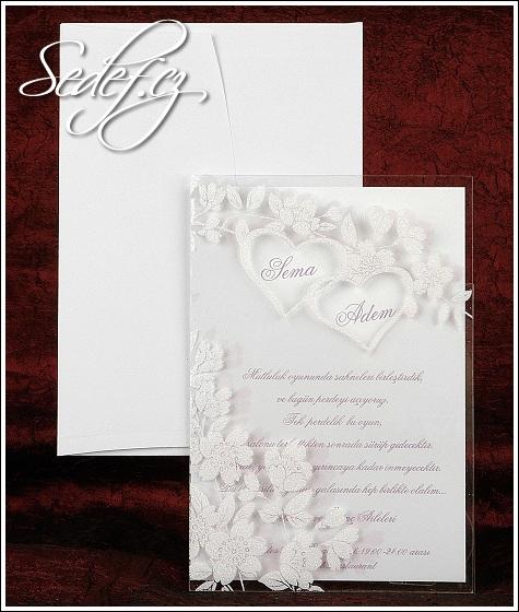 Svatební oznámení s bílými květy vzor 2440