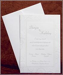 Jednodílné bílé svatební oznámení s ornamenty v rámečku, vzor 2446