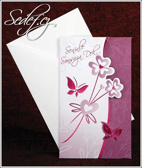 Svatební oznámení 2450 fialové s motýlky