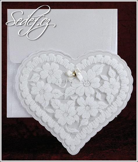 Svatební oznámení velké bílé srdce vzor 2472