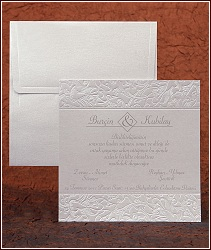Čtvercové svatební oznámení s horní a dolní částí zdobenou rostlinnými ornamenty, vzor 2480