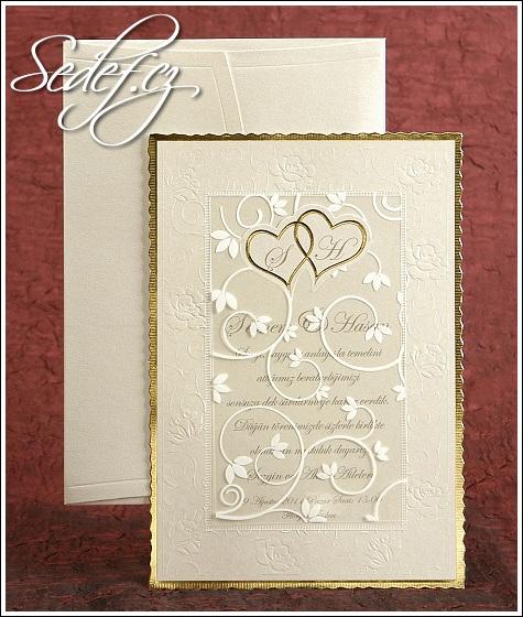 Svatební oznámení se zlatým rámečkem vzor 2485