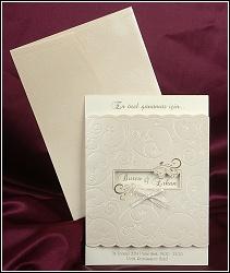 Svatební oznámení s okénkem ze zlatě perleťově metalizovaného kartonu, vzor 2489