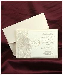 Svatební oznámení ze žlutě krémového strukturovaného papíru s ornamenty a růžemi, vzor 2496