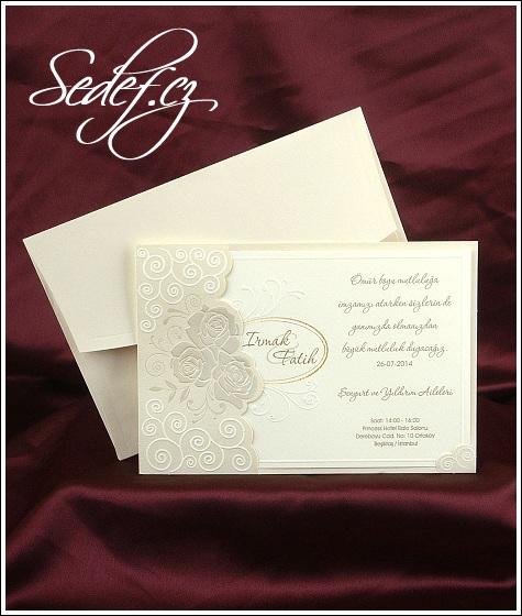 Svatební oznámení ze strukturovaného papíru vzor 2496
