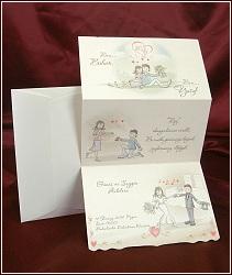 Rozkládací kreslené svatební oznámení s příběhem od zamilovanosti přes zásnuby až po svatební den, vzor 2505
