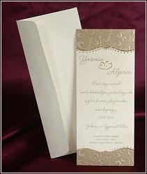 Vysoké svatební oznámení ve zlatě a měděně perleťových barvách, vzor 2508