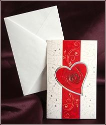 Svatební oznámení s červeným pruhem a květem růže, vzor 2512