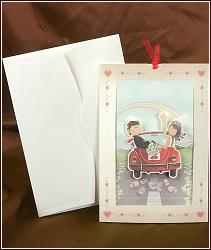 Ilustrované vysouvací svatební oznámení s veselým obrázkem novomanželů odjíždějících ve svatebním autě, vzor 2513