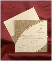 Elegantní svatební oznámení čtvercového tvaru s ornamenty v protilehlých rozích v měděném odstínu a perleťově zlaté, vzor 2514