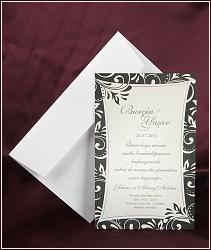 Černo stříbřité svatební oznámení s ornamenty na okrajích, vzor 2517