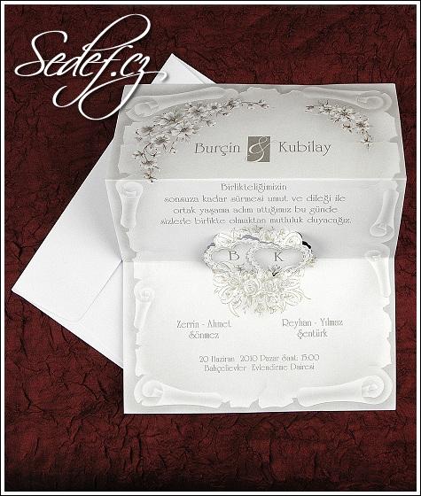 Svatební oznámení s vystupujícími srdíčky vzor 2574