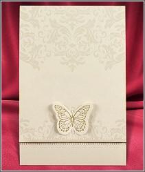 Dvoudílné netradičně řešené jemné svatební oznámení zdobené ornamenty a motýlkem vzor 2692