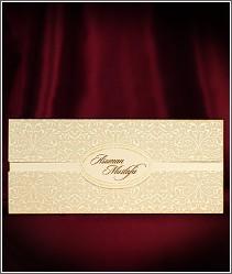Luxusní decentní svatební oznámení se semišovým povrchem chlopní přebalu vzor 2693