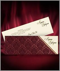 Luxusní svatební oznámení s tmavě červeným semišovým povrchem kapsy vzor 2702