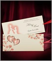 Sladké svatební oznámení se srdíčky, růžovými květinami a siluetami snoubenců vzor 2704