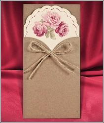 Luxusní svatební oznámení z kraftového papíru (recyklovaného papíru) s květy růží vzor 2709