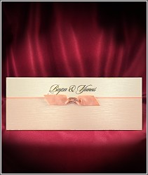 Luxusní svatební oznámení světlé růžovo oranžové barvy se stužkou a zlatou podkůvkou vzor 2711
