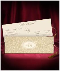 Luxusní svatební oznámení se semišovým povrchem kapsy vzor 2713