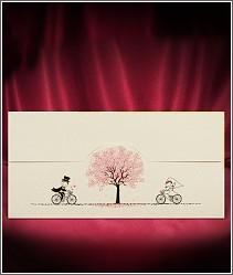 Veselé cyklistické svatební oznámení zdobené ofsetovým tiskem vzor 2714