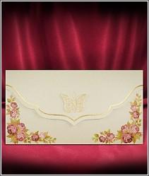 Květinové svatební oznámení se zlatým motýlkem vzor 2720