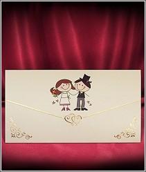 Ilustrované svatební oznámení zdobené kresleným obrázkem roztomilých postaviček snoubenců vzor 2727