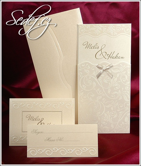 Svatební oznámení s mašličkou vzor 3583