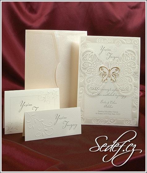 Svatební oznámení s motýlem vzor 3597