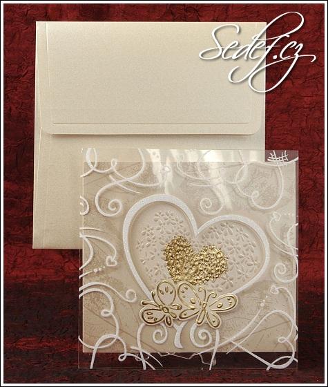 Svatební oznámení se zlatým srdcem vzor 5305