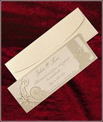 Luxusní svatební oznámení ve formě dvoudílné podlouhlé karty s motivem květin, vzor 5308