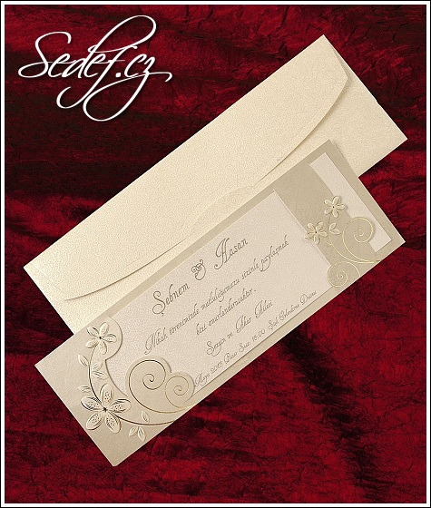 Luxusní svatební oznámení ve formě dvoudílné podlouhlé karty vzor 5308