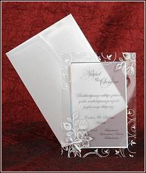 Svatební oznámení s pauzákem s jemným třpytivým obrázkem růží na průhledné fólii, vzor 5313