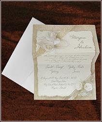 Svatební oznámení listina s bílými růžemi, vzor 5343