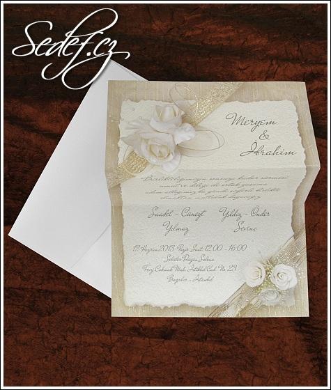 Svatební oznámení s bílými růžemi vzor 5343