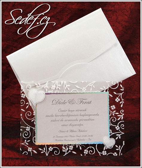 Svatební oznámení se srdíčky vzor 5347