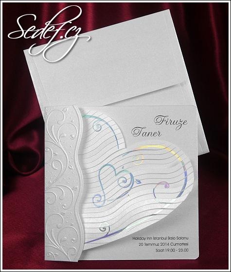 Svatební oznámení s velkým srdcem vzor 5357