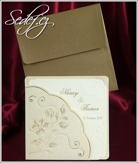 Svatební oznámení s květinami vzor 5371