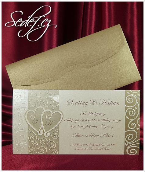 Svatební oznámení se srdíčky a s ornamenty vzor 5374