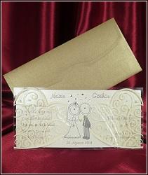 Veselé svatební oznámení luxusního provedení s milým obrázkem ženicha a nevěsty s pusami od ucha k uchu, vzor 5377