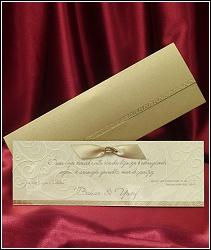 Zlaté svatební oznámení se stužkou a s ornamenty, vzor 5379