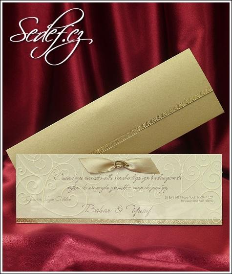 Zlaté svatební oznámení se stužkou vzor 5379