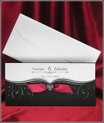 Perleťově černé svatební oznámení s červenou stužkou, ornamenty a srdíčky, vzor 5383