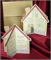 Svatební oznámení ve tvaru chaloupky s nalepenými postavičkami ženicha a nevěsty, vzor 5385