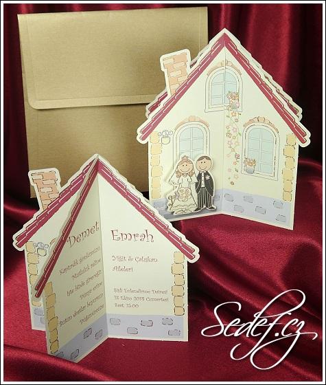 Svatební oznámení ve tvaru chaloupky vzor 5385