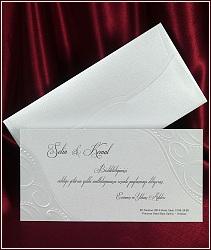 Svatební oznámení karta s ražbou lesklou perleťovou fólií a slepotiskem, vzor 5395