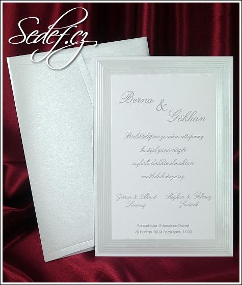 Bílé svatební oznámení vzor 5396