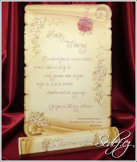 Svatební oznámení ve formě listiny vzor 5398